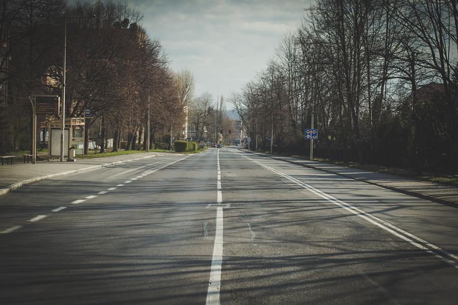 początki kwarantanny - ulica piastowska w Bielsko-Białej